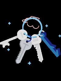 Illustration av nyckelknippa