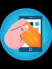 Illustration av medlemskort på mobilen