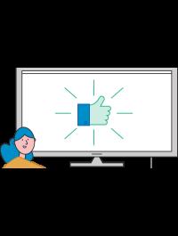 Illustrasjon av en smilende dame foran en dataskjerm som viser en tommel opp