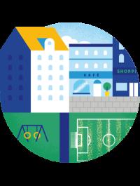 Illustrasjon av et nabolag med kafé, kjøpesenter, lekeplass og fotballbane.