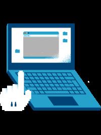 Illustrasjon av en datamaskin og en hånd som trykker på den.