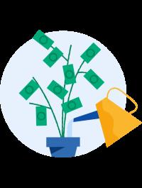 Illustrasjon som viser en plante med penger som blader