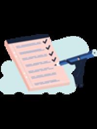 illustration av en liten människa bockar av en checklista på stort block