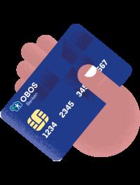 Illustrasjon av en hånd som holder et bankkort.