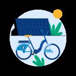 Illustrasjon av en OBOS-bysykkel og et solcellepanel på et tak