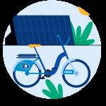 Illustrasjon av en OBOS-bysykkel, et solcellepanel og en sol