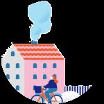 Illustrajon av en dame som sykler forbi et boligkompleks med røyk ut av pipa.