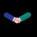 Illustrasjon av to hender som hilser