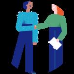 Illustrasjon av to mennesker som håndhilser