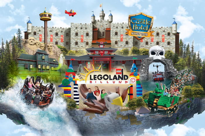 Illustrasjon av Legoland og mange av de spennende aktivitetene som er der