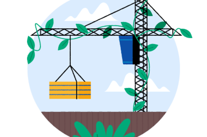 Illustrasjon av en byggekran omkranset av planter.