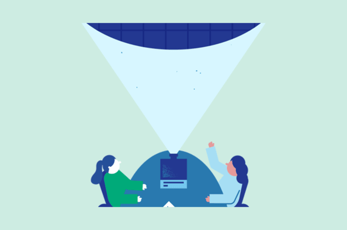 Illustrasjon av to mennesker som ser på en presentasjon