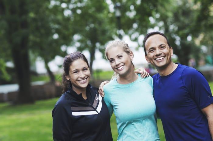 Tre OBOS-ansatte i treningstøy
