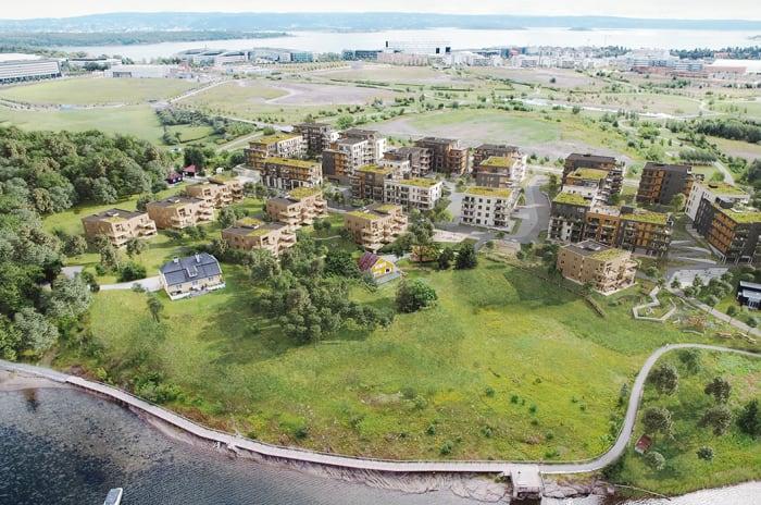 Oversiktbilde av boligprosjektet Oksenøya på Fornebu.