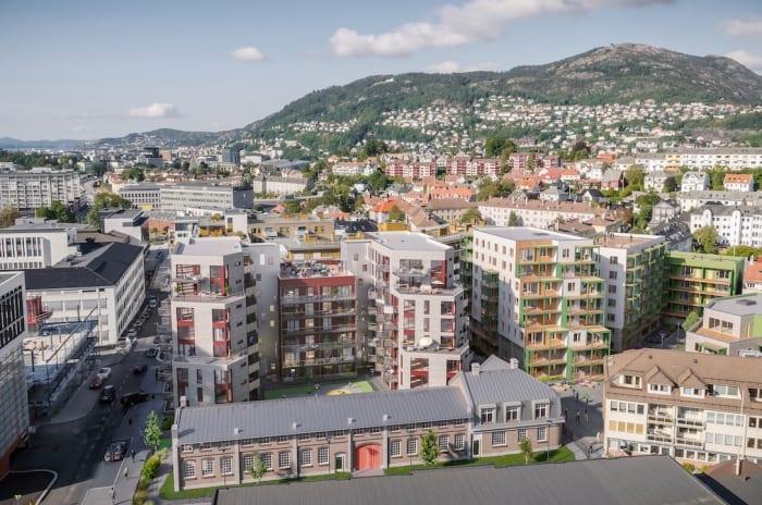 Illustrasjon av Kronstadparken-prosjektet midt i Bergen