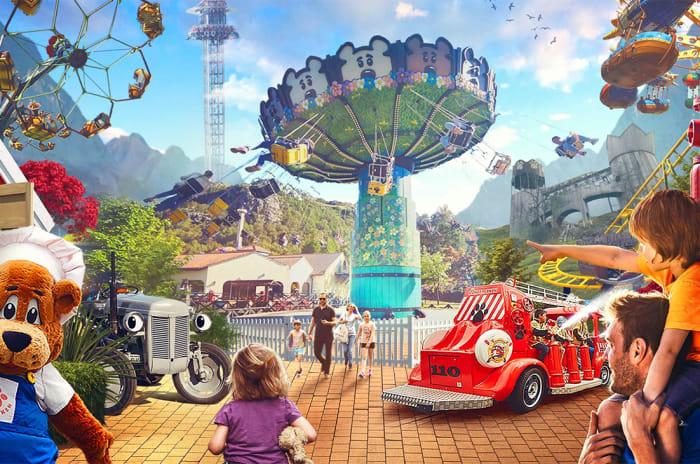 Illustrasjon av flere av attraksjonene i parken