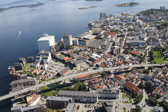 Dronebilde av område i Stavanger