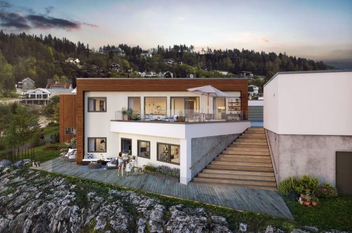 Illustrasjon av fasade med terrasse og uteareal hus 5