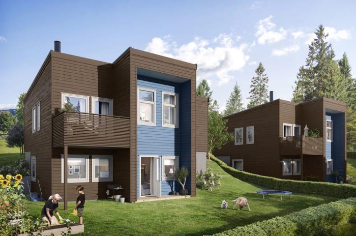 Fasade hus 2a og 2b, hage