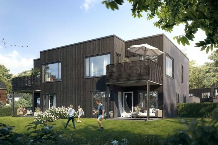 Illustrasjon av hage og fasade, bolig 5-6