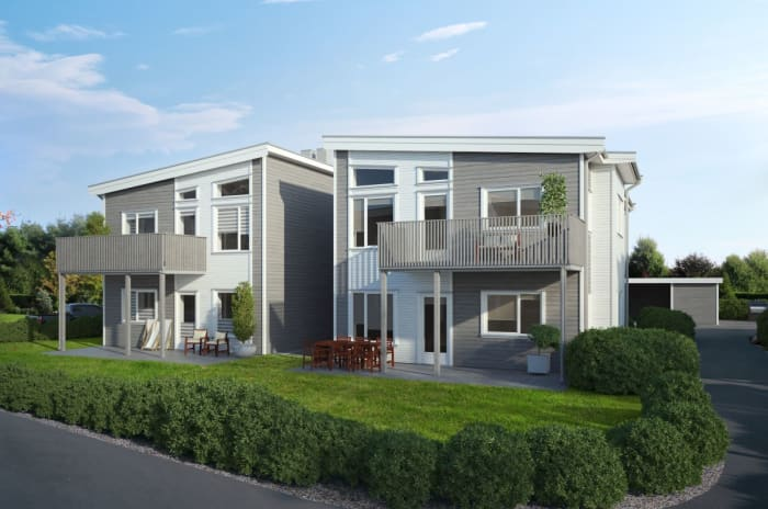 Illustrasjon av fasade med balkong og hage, hus 10