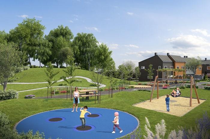 Illustrasjon av lekeplassen på Lillejordet