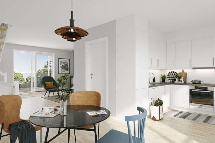 Illustrasjon av stue og kjøkken i andre etasje, Kvernsteinkroken