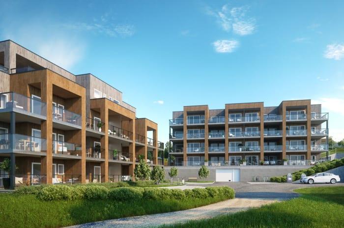 Illustrasjon av fasade på leilighetene, BB1