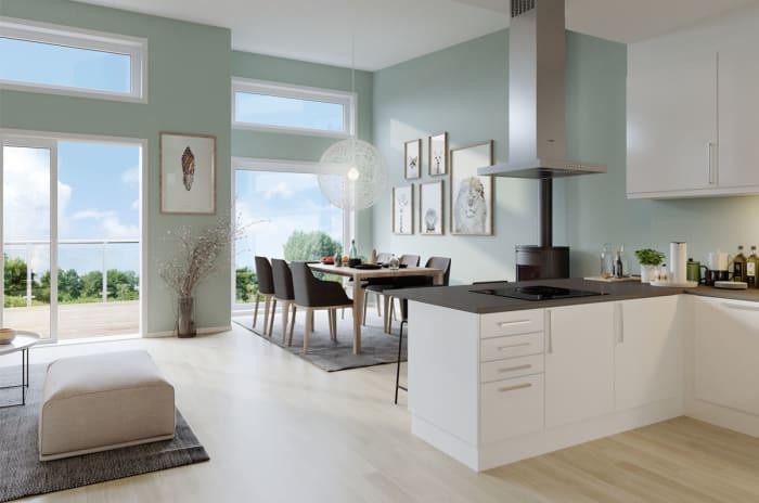 Illustrasjon av kjøkken og stue i rekkehus trinn 1-2