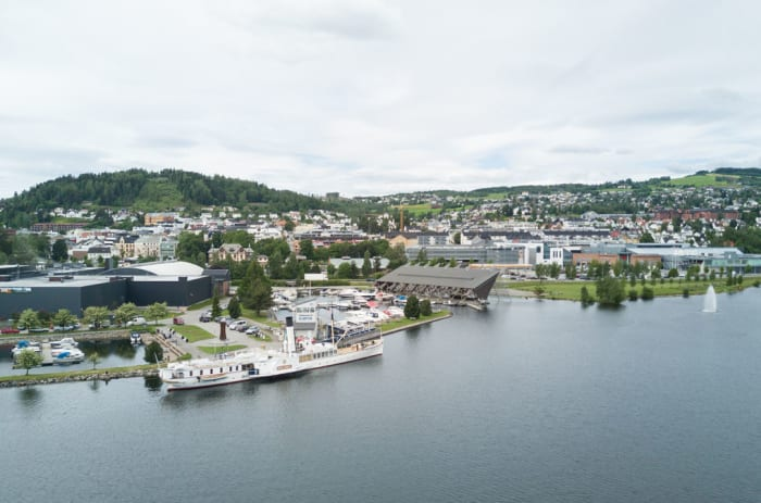Dronefoto av Gjøvik