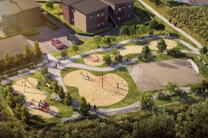 Illustrasjon av lekeplass på fellesareal