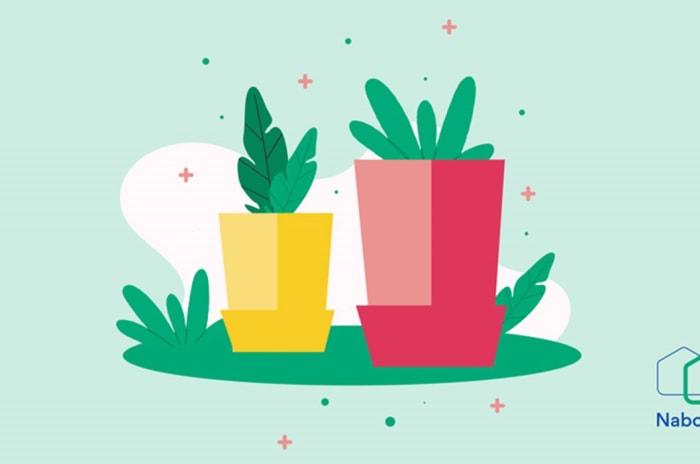Illustrasjon av stiklinger og Nabohjelp-logo