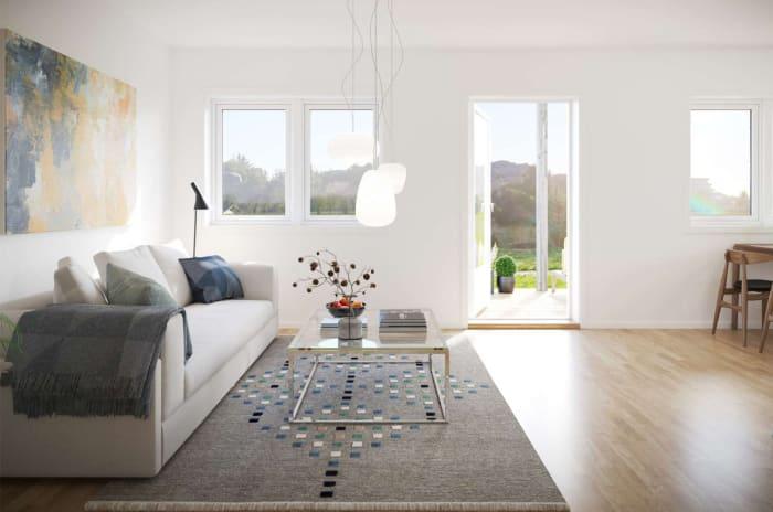 Illustrasjon av stue i leilighet