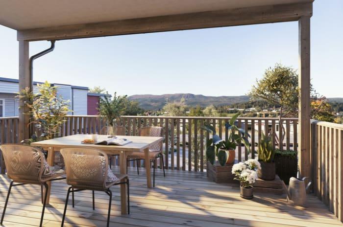 Illustrasjon av terrasse, hus b leilighet 1