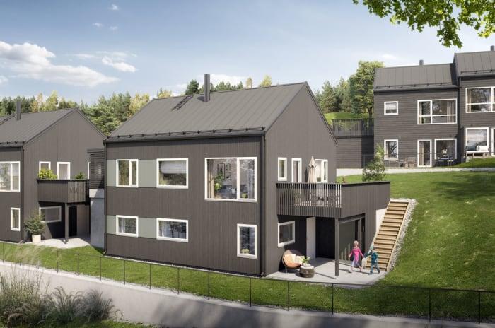 Illustrasjon av hus 19, 20 og 21 hagesside