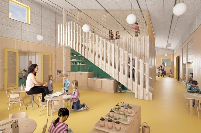 Bashuset obos start learning som består av groventré, hall, allrum, hemrum, miniateljé och skötrum