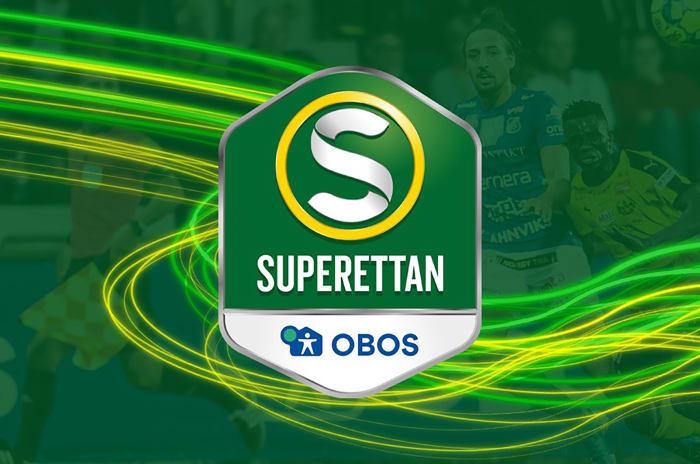 Grön och gul loggo för Superettan, med OBOS som sponsor