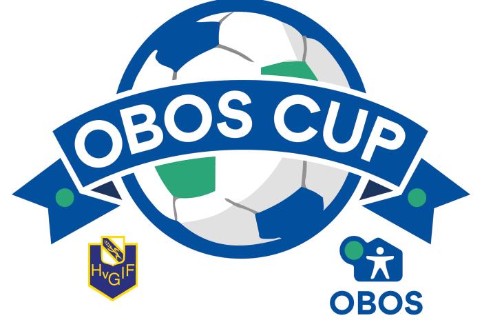 Loggo för OBOS CUP, en fotboll med en banderoll över.