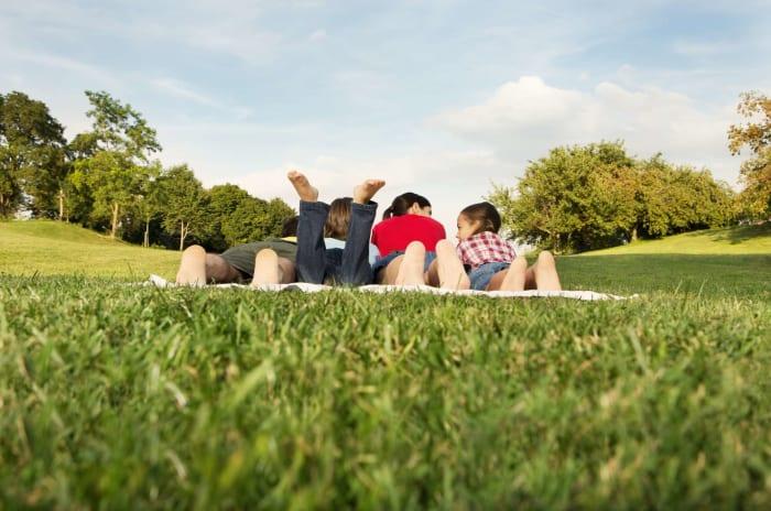 familie med barn ligger på pledd på gressplen