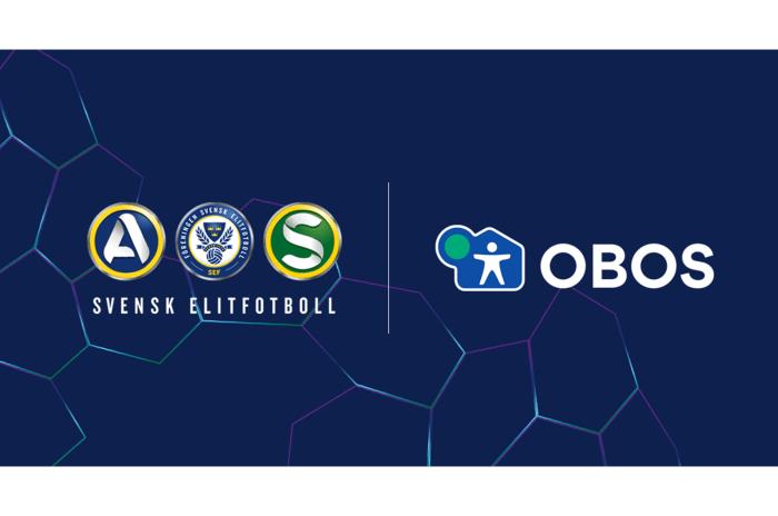Logotyper för svensk elitfotboll bredvid en logotyp för OBOS