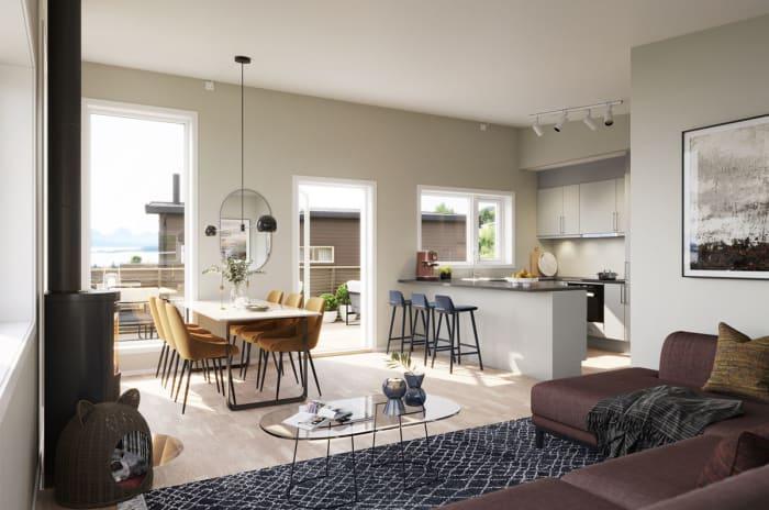 Illustrasjon fra stue og kjøkken hustype Bryn