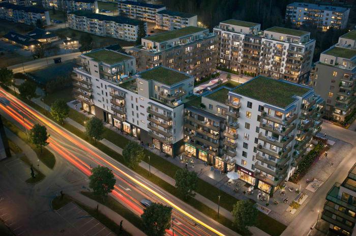 Illustrasjon av oversiktsbilde av MIDT-prosjektet i Lørenskog i kveldsbelystning.