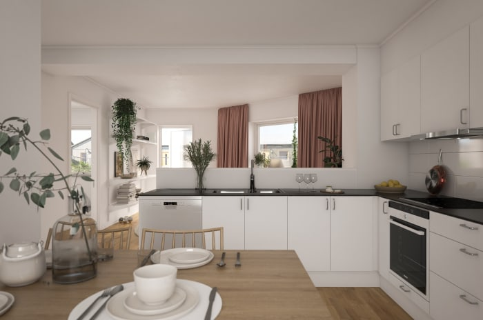 Ett kök i Brf Ebbas Trädgårdar