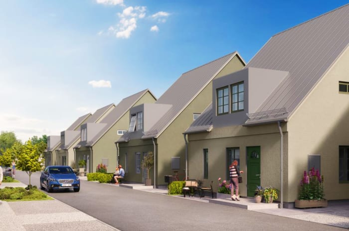 Vision av hus längst en gata