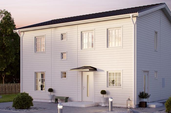 vitt tvåvåningshus i trä