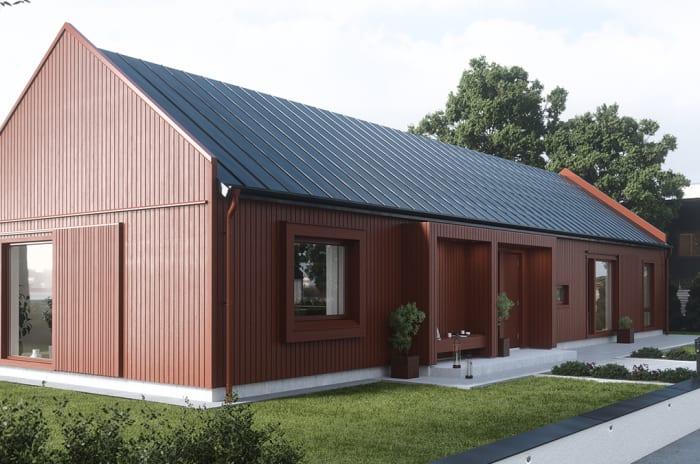 Ett rött enplanshus från Myresjöhus