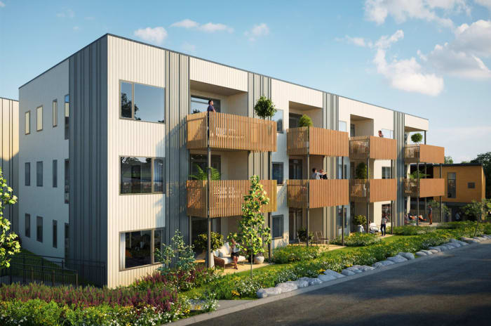 Illustrasjon av fasade på leiligheter i Engrappveien 27