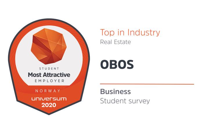 Merke for mest attraktiv arbeidsgiver kåret av studenter i Universums undersøkelse i 2020.