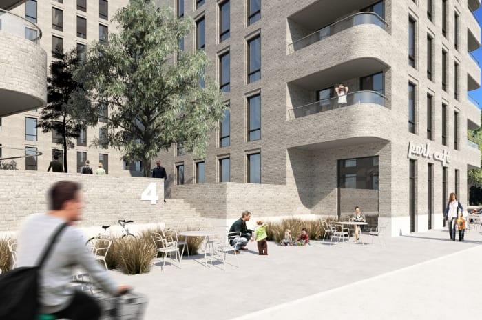 3D bild av person som cyklar utanför nya lägenheter i Bagarmossen