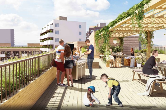 Illustrasjon av takterrasse med pergola, utegrill, benker og folk som koser seg i sola på Ulvenparken.